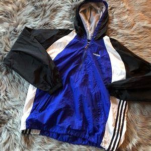 Vintage adidas blue three stripe windbreaker